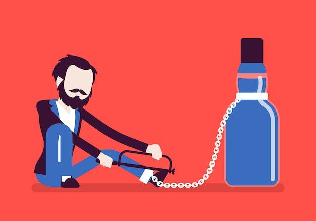 Mann mit flasche in alkoholabhängigkeit