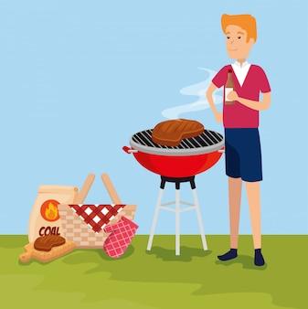 Mann mit fleisch im grill und im korb