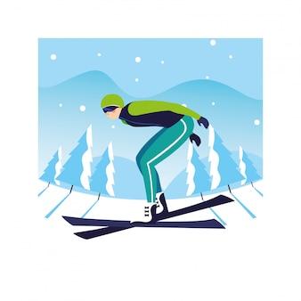 Mann mit gebirgsski in der landschaft des winters