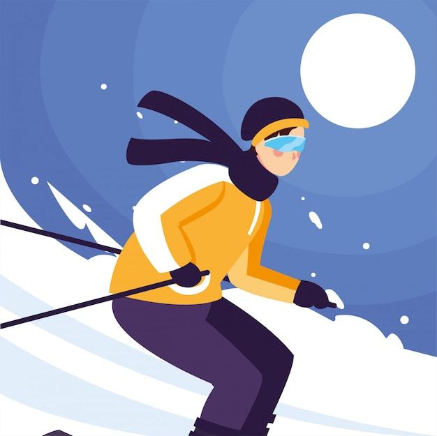 Mann mit gebirgsski, stehend und in bewegung. ski alpin, extremer wintersport