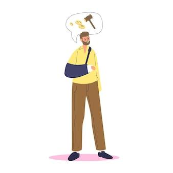 Mann mit gebrochenem arm im verband auf der suche nach invalidengeld. behinderte männliche zeichentrickfigur mit gebrochener hand braucht rehabilitationsgeldunterstützung.