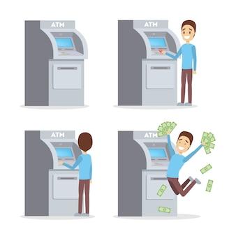 Mann mit geldautomaten. guy legt kreditkarte ein, wählt den pin-code und zieht einen haufen geld ab. glücklicher bankkunde. eben