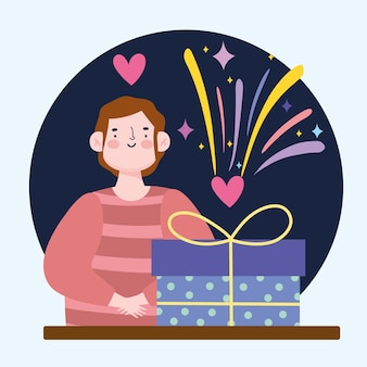Mann mit geschenkbox-konfetti-partyfeier-karikaturillustration