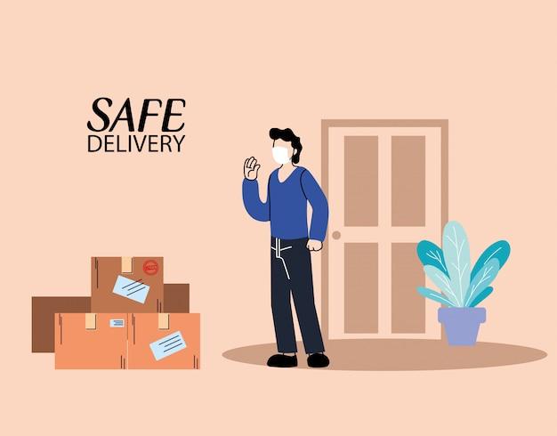 Mann mit gesichtsmaske erhält sicheres lieferpaket