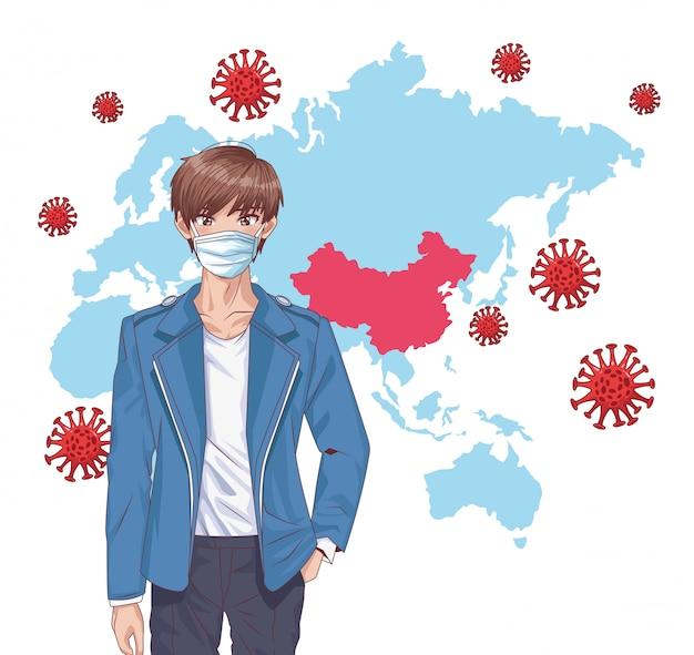 Mann mit gesichtsmaske und covid19 partikeln in der alten kontinentkarte