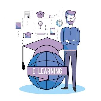 Mann mit globalem e-learning und abschlusskappe