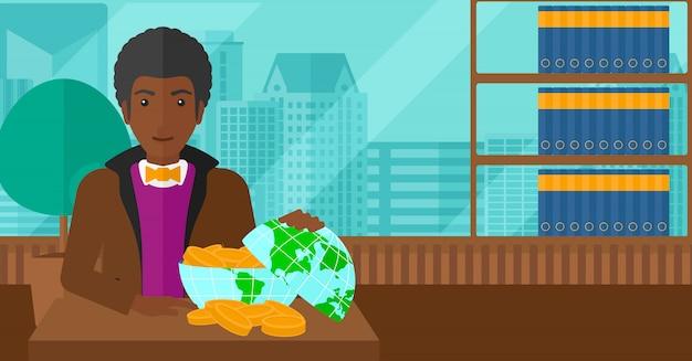Mann mit globus voller geld.