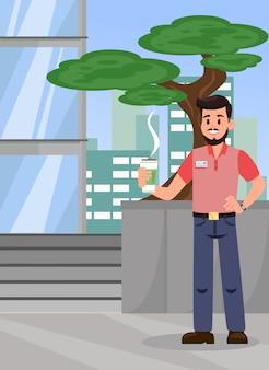 Mann mit heißer kaffee-farbvektor-illustration