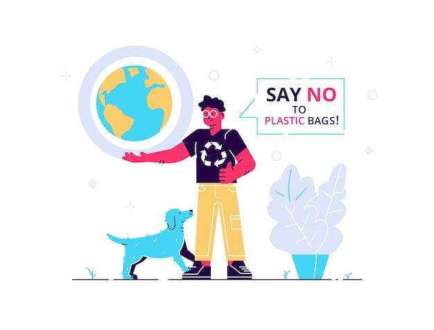 Mann mit hund, der erde und wörter hält, sagen nein zu plastiktüten