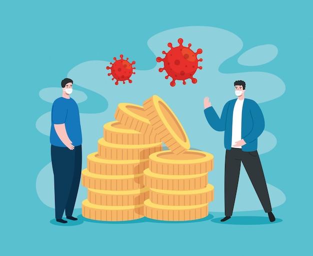 Mann mit ikonen der wirtschaftlichen auswirkung von covid 2019
