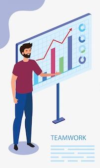 Mann mit infografik in szene teamarbeit