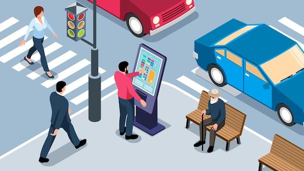 Mann mit interaktivem touchscreen-panel in der isometrischen horizontalen der stadtstraße using