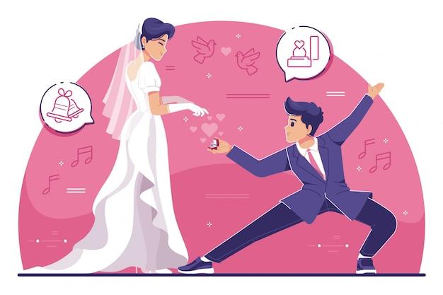 Mann mit karate-pose gibt eine verlobungsringillustration
