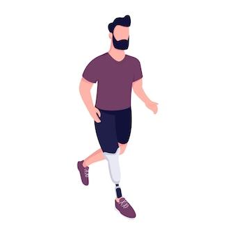 Mann mit künstlichem bein, das flache farbe gesichtslosen charakter läuft. handicap sportler trainieren. junge mann mit gliedmaßenprothese isolierte karikaturillustration für webgrafikdesign und animation