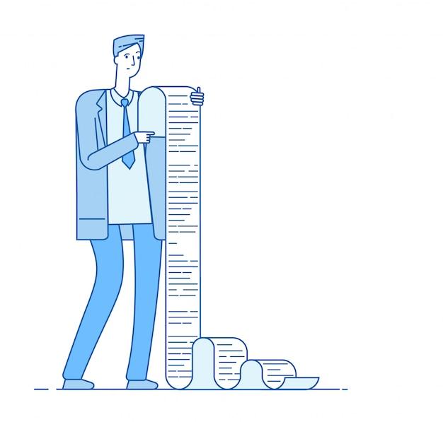 Mann mit langer liste. geschäftsmann, der steuerdokument der langen liste liest. verwirrtes professionelles papierproblem insolvenzgeschäftskonzept