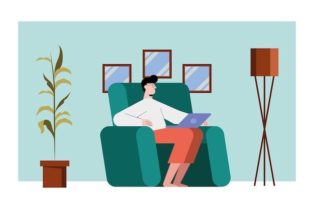 Mann mit laptop auf stuhl
