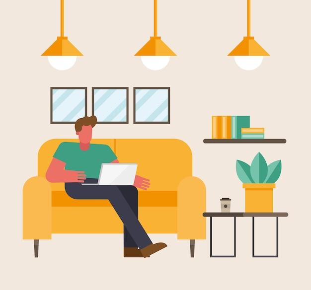 Mann mit laptop, der auf couch vom hauptentwurf des telearbeitsthemas vektorillustration arbeitet