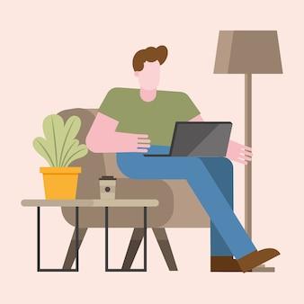 Mann mit laptop, der auf stuhl vom hauptentwurf des telearbeitsthemas vektorillustration arbeitet