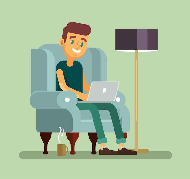Mann mit laptop, der im stuhl entspannt. flache karikaturillustration