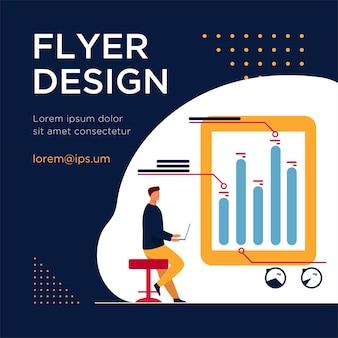 Mann mit laptop, der infografiken analysiert. diagramm, balkendiagramm, flache flyer-vorlage melden