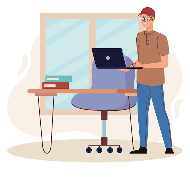 Mann mit laptop im büro