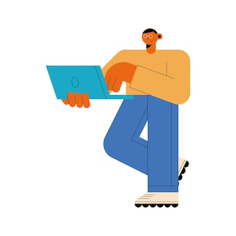 Mann mit laptop-stehendem charakter