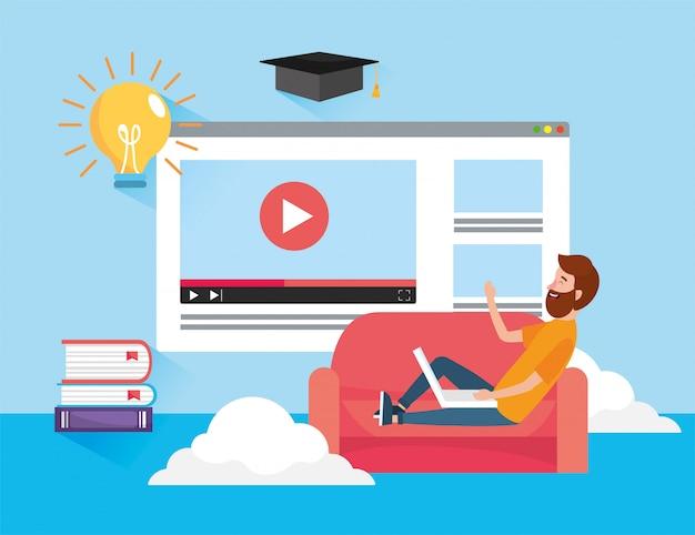 Mann mit laptop-technologie und website-video