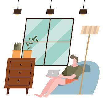 Mann mit laptop zu hause design der aktivität und freizeit thema.