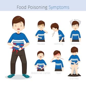 Mann mit lebensmittelvergiftungssymptomen