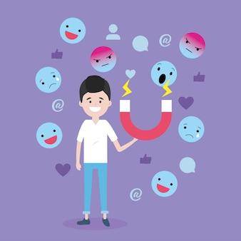 Mann mit magnet- und emoji media-mitteilung