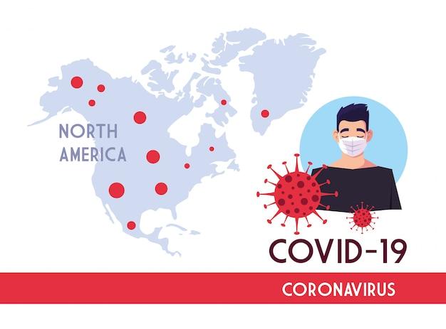 Mann mit maske und nordamerikakarte mit covid 19 virusvektorentwurf
