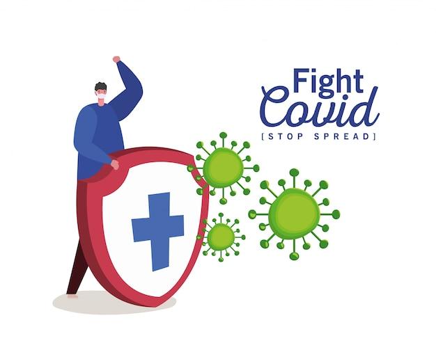 Mann mit maske und schild mit kreuzkampfvirus