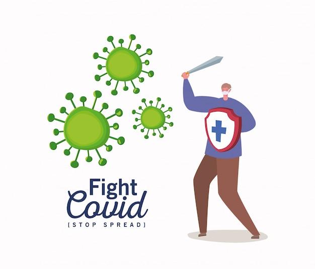 Mann mit maskenschwert und schild mit kreuzkampfvirus