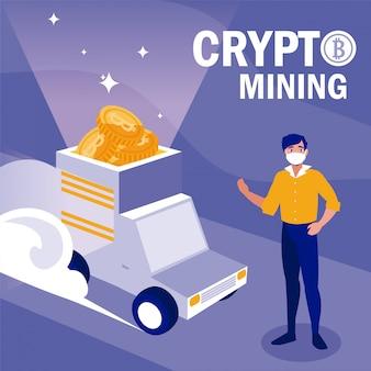 Mann mit maskenwagen und bitcoins
