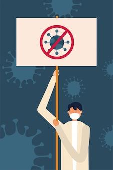 Mann mit medizinischer maske und ban banner board