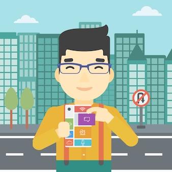 Mann mit modularem telefon