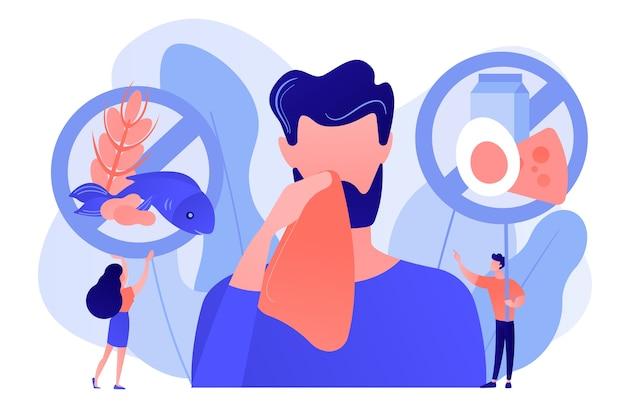 Mann mit nahrungsmittelallergiesymptomen zu produkten wie fisch, milch und eiern. lebensmittelallergie, lebensmittelalgenbestandteil, allergierisikofaktorkonzept. isolierte illustration des rosa korallenblauvektorvektors