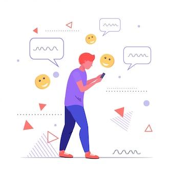 Mann mit online-chat mobile app soziale netzwerk chat blase kommunikationskonzept mann hält smartphone-skizze in voller länge