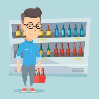 Mann mit packung bier im supermarkt.