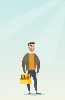 Mann mit packung bier