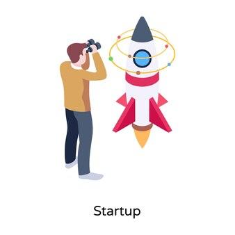 Mann mit rakete, der das konzept der isometrischen illustration des starts bezeichnet