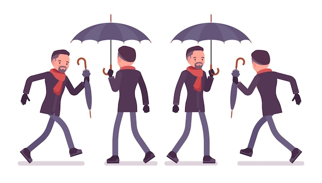 Mann mit regenschirm, der die herbstkleidillustration geht und läuft