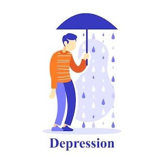 Mann mit regenschirm unter regen, depressionskonzept, unglückliche person, unglücklich oder elend, pessimismus denkend, dem leben gleichgültig, flache illustration