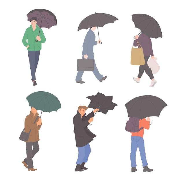 Mann mit regenschirmen im regen in verschiedenen herbst-freizeitkleidung des städtischen stils. flacher stil.