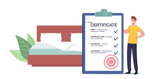 Mann mit riesigem zertifikat im schlafzimmer mit kingsize-bett