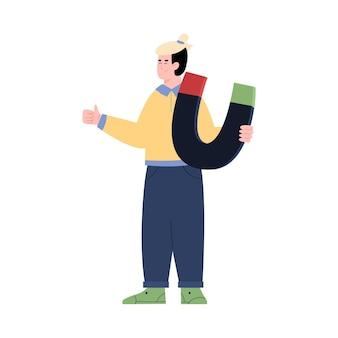 Mann mit riesigen magneten führt generation cartoon-vektor-illustration isoliert