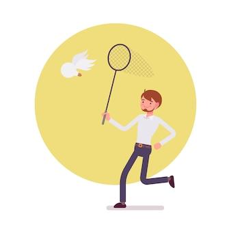 Mann mit ringnetz versucht, eine idee zu fangen, flügelbirne
