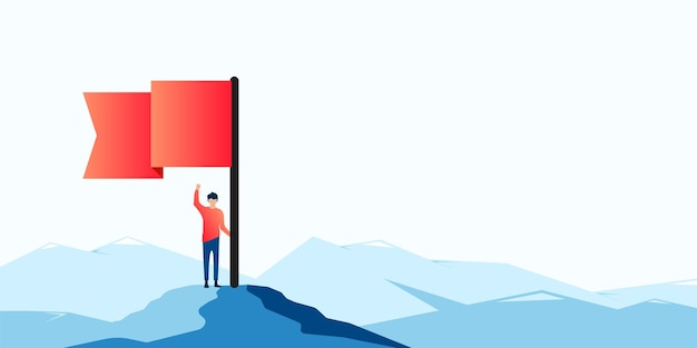 Mann mit roter fahne auf berggipfel. geschäftsmann und finanzieller erfolg, zielerreichungskonzept