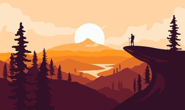 Mann mit rucksackreisender oder entdecker, der auf berg oder klippe steht und auf talgebirgslandschaft schaut reisen oder wandern oder erkunden oder tourismuskonzept