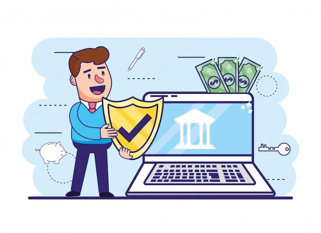 Mann mit schildsicherheit und laptop mit elektronischer bank